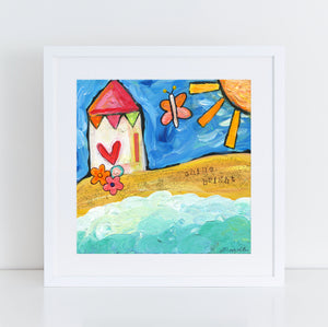 Beach House painting for beach house decor. Whimsical original coastal art.