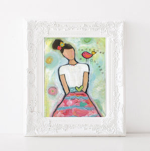 Pink girls room decor, Pastel whimsical painting, redeemed art work, Christian wall decor, teen girl acrylic art print, 8x10, 11x14 prints
