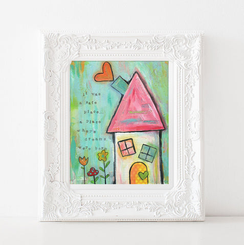 Whimsical House painting, dream big folk art, aqua girls room decor, fairytale mixed media art print, 8x10, 11x14 prints