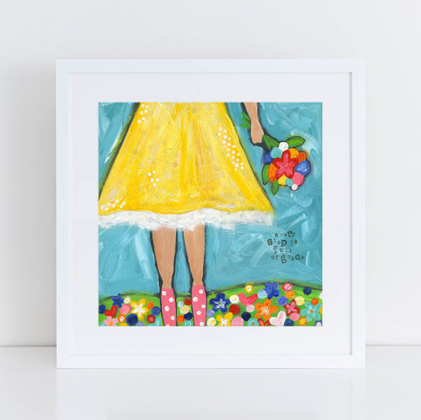 Grace art, whimsical girls room decor, Christian Wall Decor, Original art print, Square art, yellow artwork, Brave Girls art print,