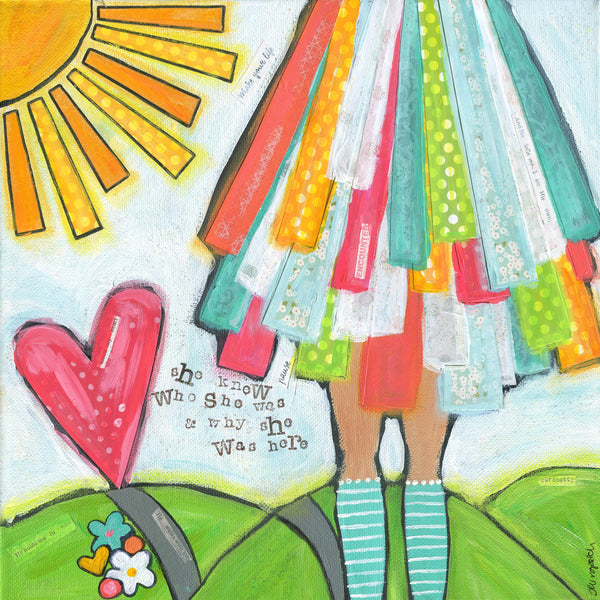 Brave Girls art Print, colorful Girls Room, Whimsical, Joyful artwork, Teen girl gift, Christian wall decor, Fashion art, heart sun painting