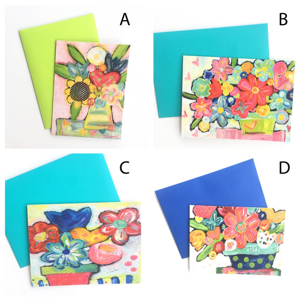 Pick your own Set of 5 notecards with envelopes. Blank note card stationery set.