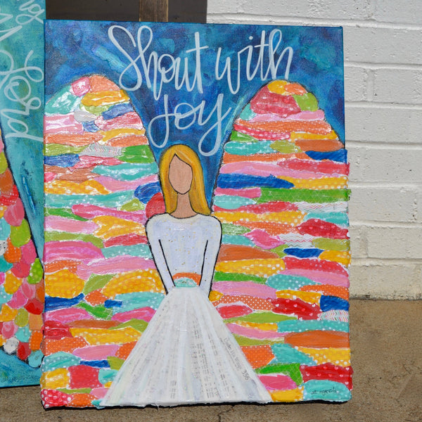 Joyful Angel Art || Original Painting on Canvas || Shout with Joy || 16x20 inches || Colorful