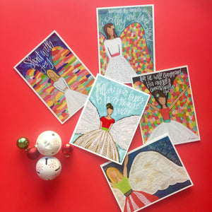 Set of 5 Angel note cards with envelopes. Blank Christmas Card set.
