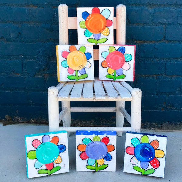 Funky Daisy Paintings. Whimsical Colorful Flower art on canvas. Stay kind. Stay wild. Stay joyful.