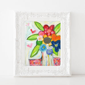 Rainbow flowers, Bright colorful Flower bouquet painting, art print, happy art, 8x10, 11x14 inch art prints