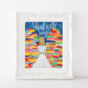 Original Angel Art Print, Shout with Joy, joyful, Scripture art, Bible verse, Christian Wall decor, blue wall art, colorful
