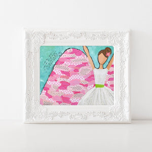 Pink girls room decor. Angel painting art print. Revelations angel art.