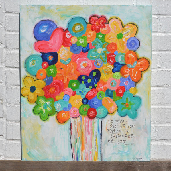 Oversized colorful flower bouquet painting. Bright Joyful art on canvas.