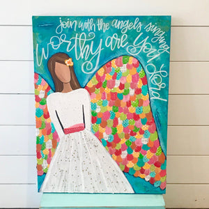 Colorful Angel Art || Original Painting on Canvas || Worthy are you Lord || 16x20 inches || Colorful