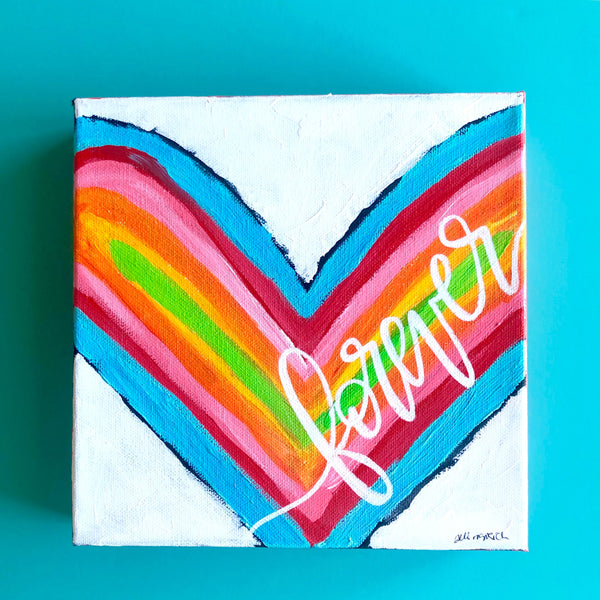 Forever Heart Painting, Heart Artwork, Colorful Valentines Day Decor, Mixed Media Canvas, One little word, Love painting, wedding gift