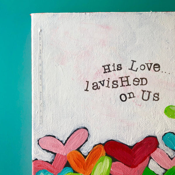 Original Colorful heart painting, Christian Wall decor, 1 John 3:1, Gods love, Bright art, Valentines day decor, kids room, Bible verse art