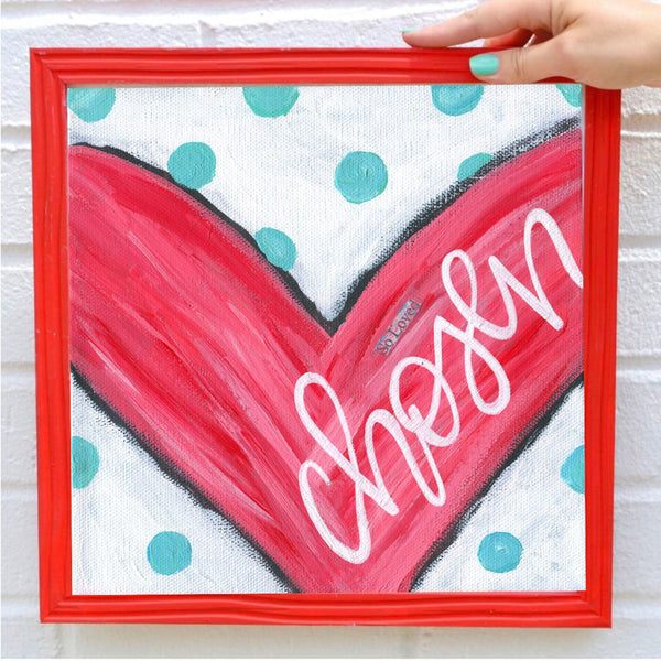 Heart Painting art print, Heart Artwork, adoption gift, Red and Teal Valentines Day Decor, Mixed Media, Chosen, Love painting, kids room