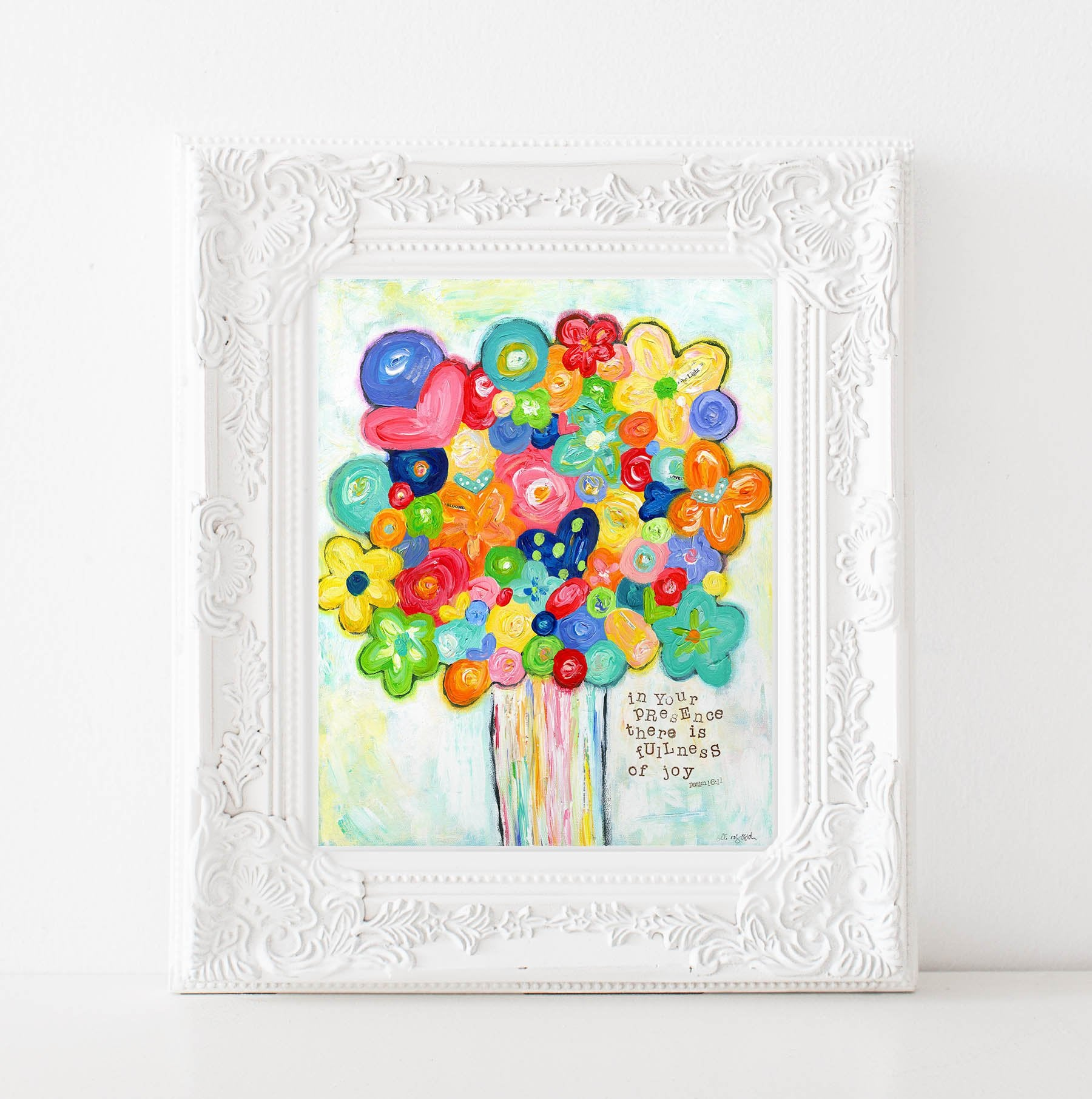 Bright Colorful Flower Art print. Flower bouquet painting. Original art print.