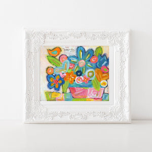 Be you bright colorful flower painting. Floral bouquet art print. Be your beautiful self.