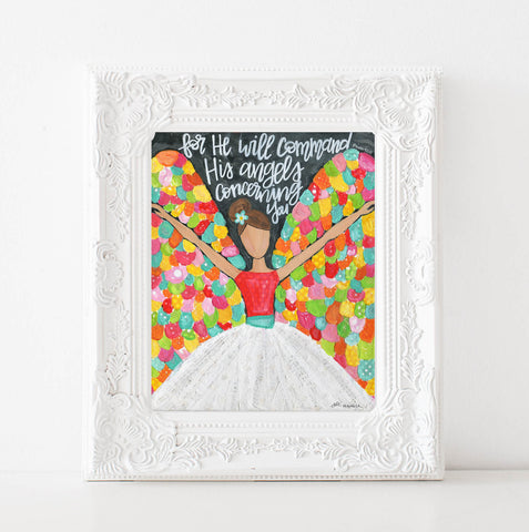 Colorful Angel Art print. Christian wall decor.