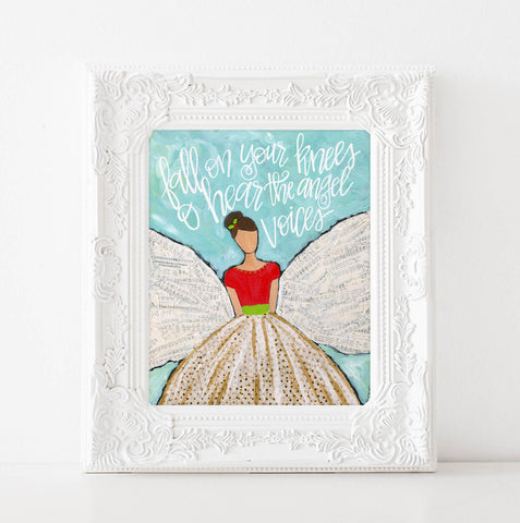 Original Christmas Angel Art Print, O Holy Night lyrics, Scripture art, Bible verse, Christian Wall decor, Holiday decor