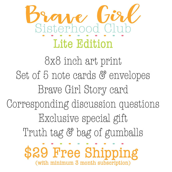 Brave Girl Sisterhood Subscription Box (lighter skin tone): June edition. Girls Bible Study Monthly gift box.