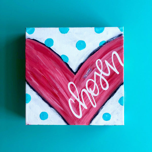 Chosen Heart Painting. Red with teal and rainbow accents. original square art on canvas.