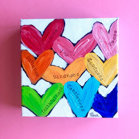 Fruit of the Spirit painting. Heart artwork. Colorful mixed media art on canvas.