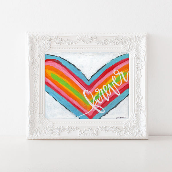 Forever Heart Painting, Art Print, Heart Art, Colorful Valentines Day Decor, Mixed Media, One little word, Love painting, wedding gift