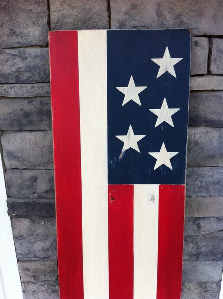 Large American Flag Sign. Rustic Wood Flag Sign.  4th of July sign. Front porch sign.