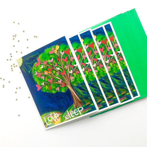 Set of 5 Let Love Grow Deep tree of love note cards