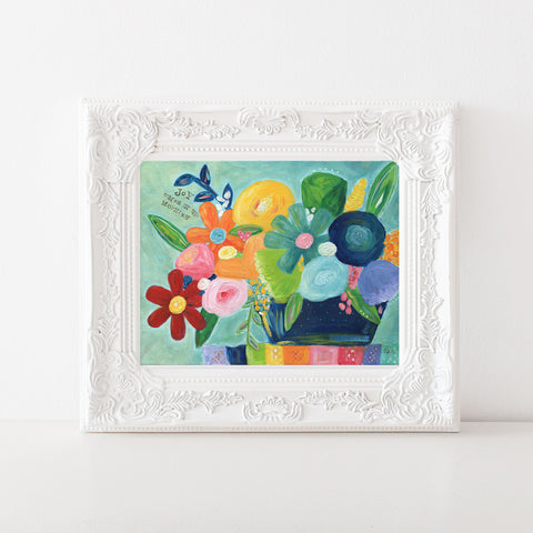 Joy comes in the morning rainbow flowers art print