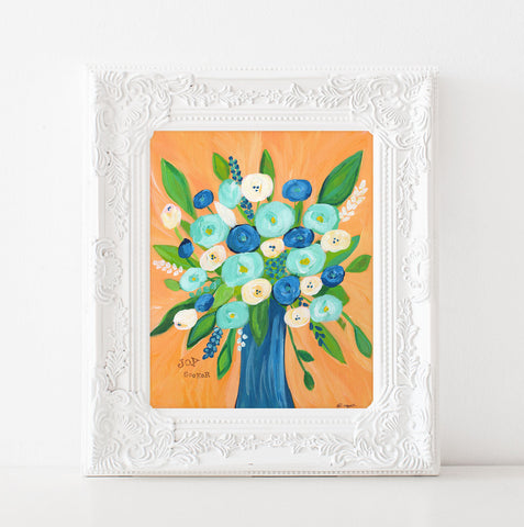 Art print: Joy Seeker Orange and Navy Floral