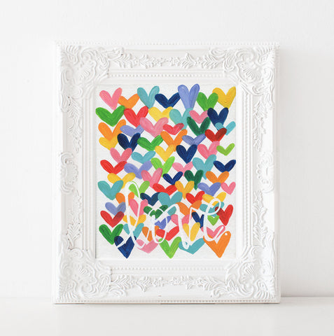 Love. Multi colored heart art print
