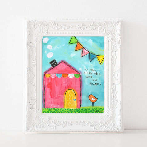 Colorful Pink House art print
