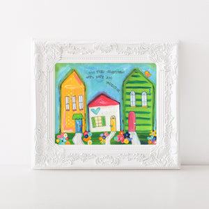 Love and Laughter House Art Print. Original Whimsical House painting.
