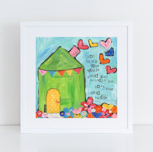Art Print of Original Folk Art Whimsical House painting.