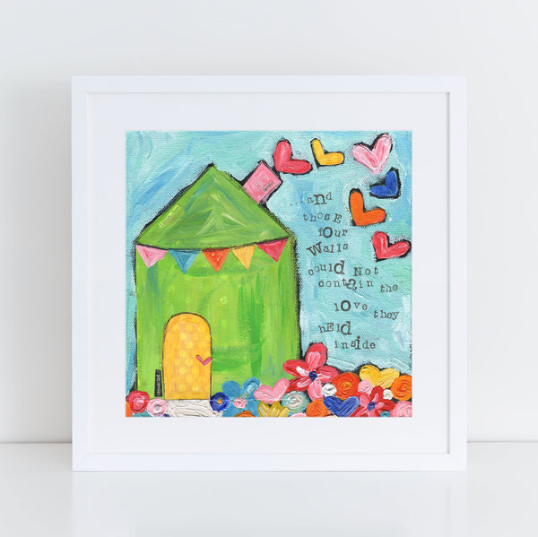 Art Print of Original Folk Art Whimsical House painting. Square art professionally printed. Mothers Day gift idea.