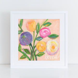 "Art print: ""Loved"" Light Pink multi colored floral bouquet"