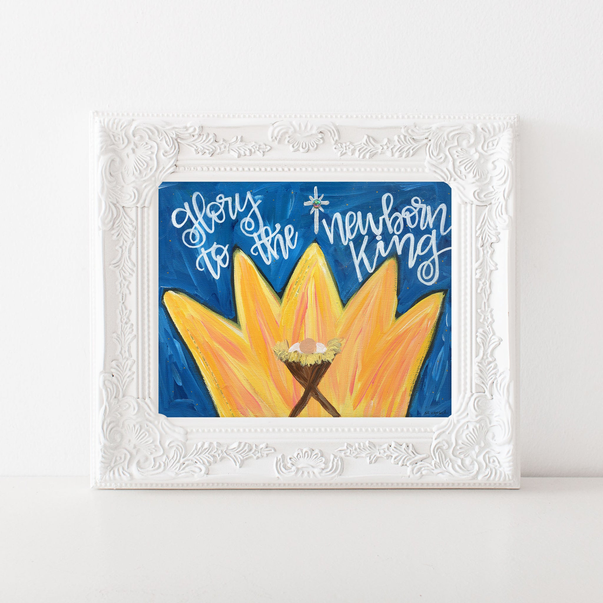 Nativity Art Print. Glory to the Newborn King.