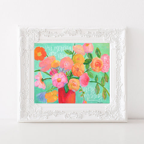 "Art print: ""New Mercies""  Aqua & Pink floral bouquet"