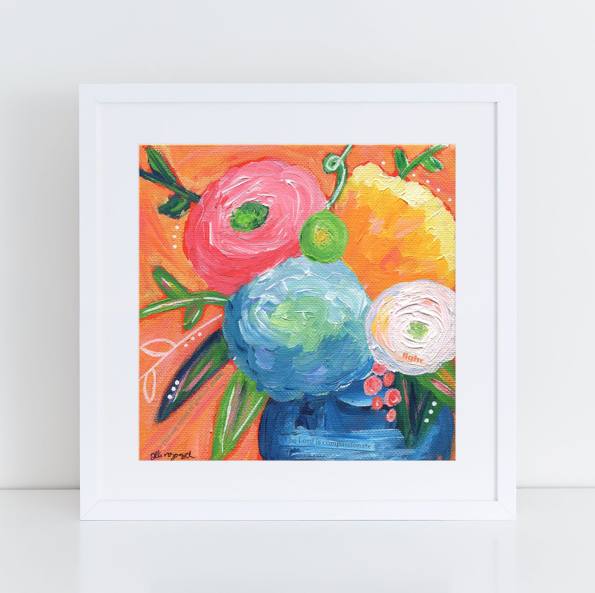 Colorful orange bouquet art print.