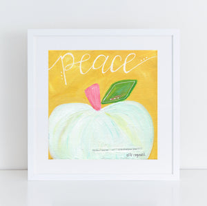 "Art print: ""Peace"" Yellow & White Pumpkin"