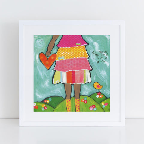 She Makes the World a Prettier Place Brave Girls Art Print with darker skin