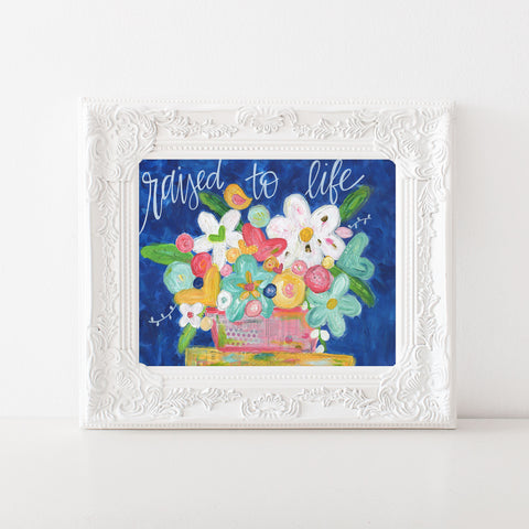 Easter Colorful Floral bouquet art print.