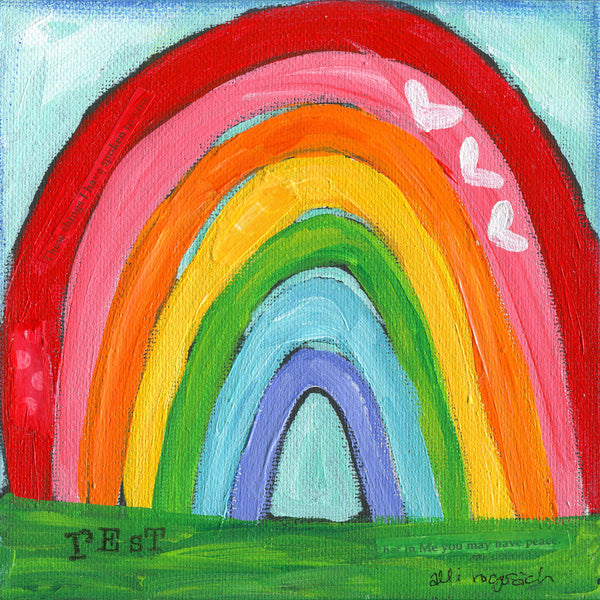 "Whimsical ""Rest"" Rainbow Art Print. Original Painting printed on high quality paper."