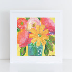 "Art print: ""Rest"" yellow multi colored floral bouquet"