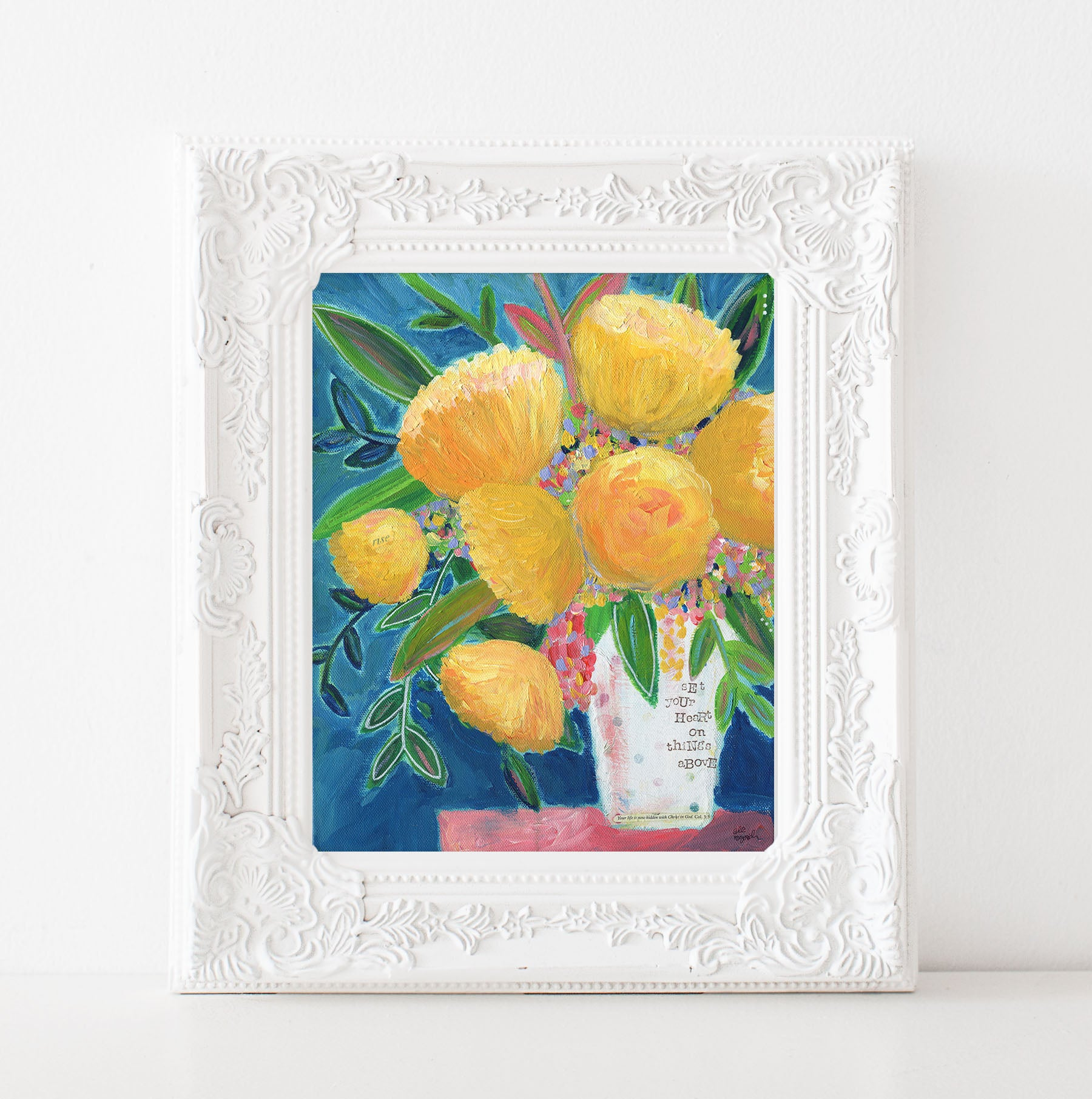 Navy and Yellow Floral Painting Art Print. Set your Heart on things above.