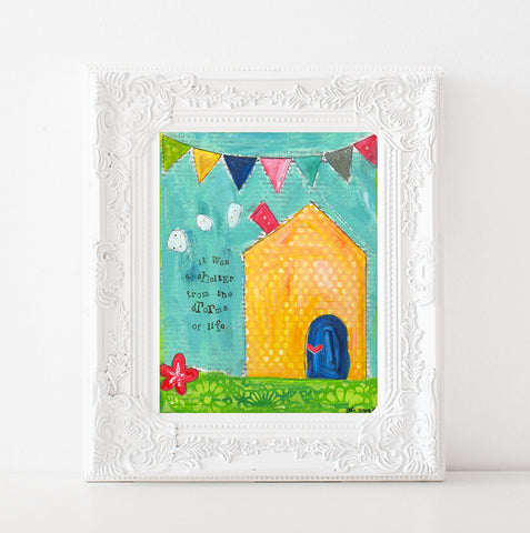 Colorful Yellow House art print