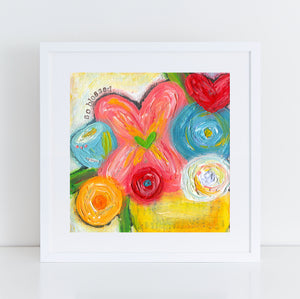 So Blessed Floral Bouquet art print. Colorful flower painting.