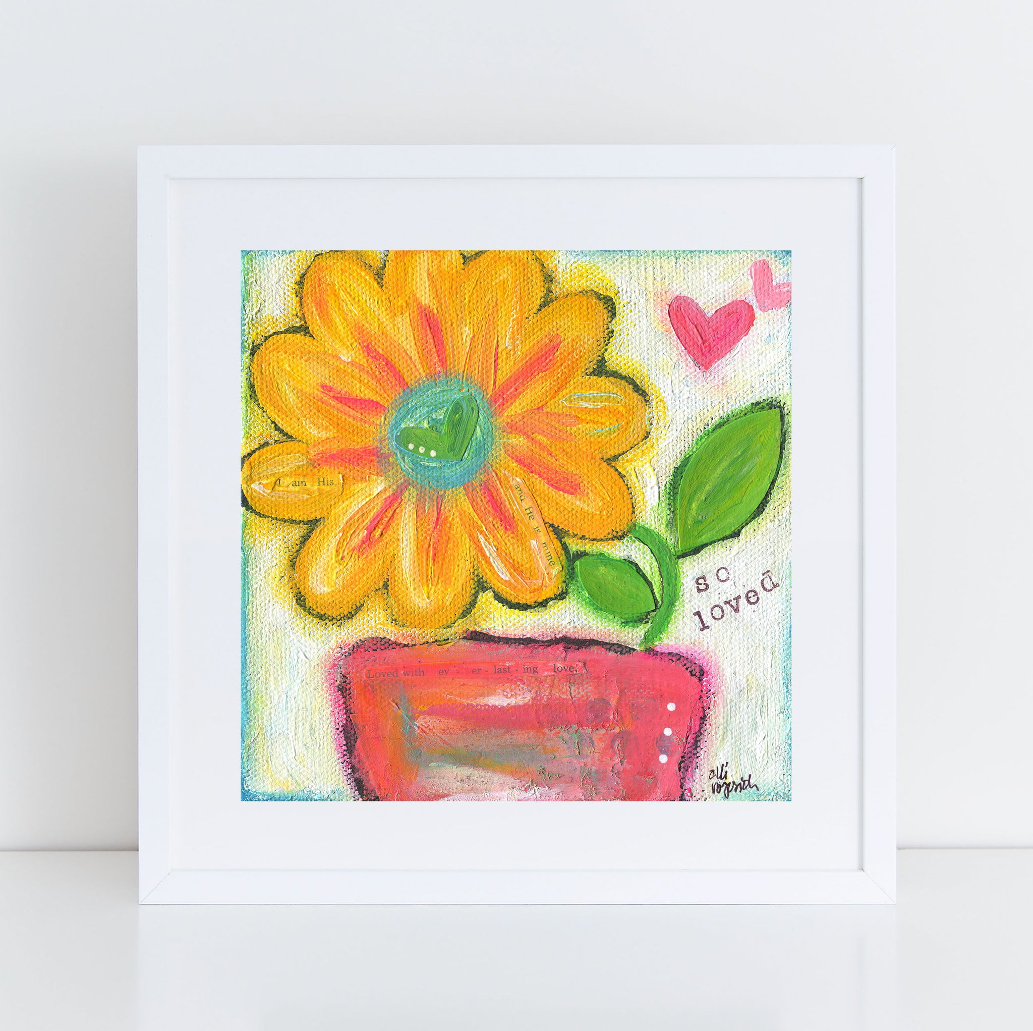 So Loved Floral Bouquet art print. Colorful flower painting.