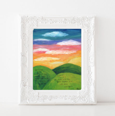 Sunrise Mountain painting art print. May the Lord Bless you and Keep you.