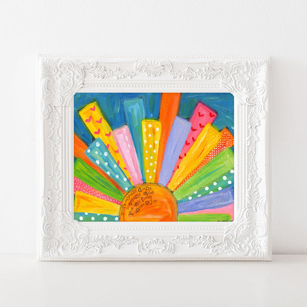 Bright Colorful Sun Painting. Sunshine Beach House Decor. Whimsical Coastal Art.