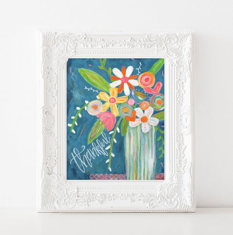 Blue Thankful Floral bouquet art print.